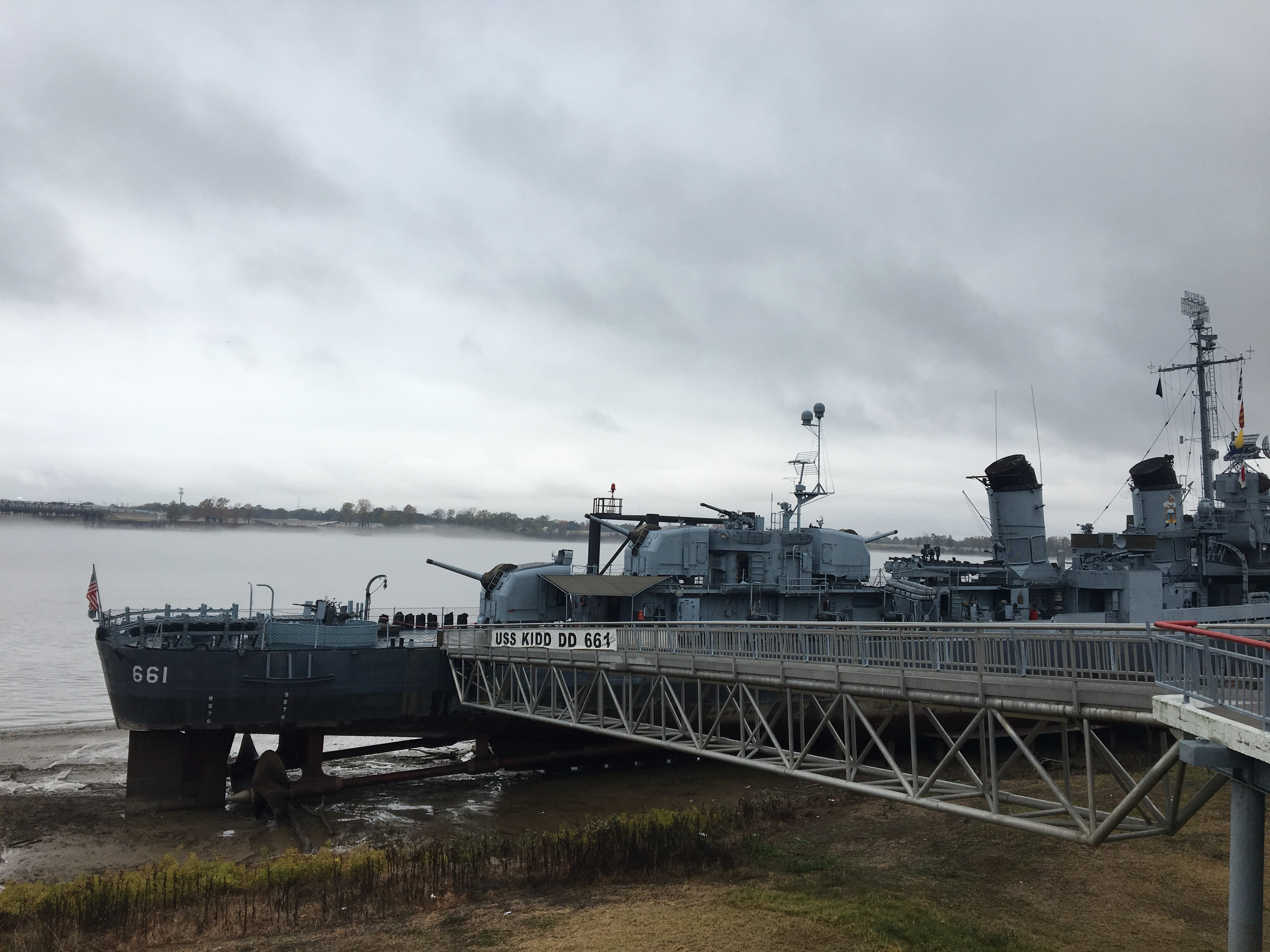Christine Bruce - River levels- Low water- gangway | USS Kidd
